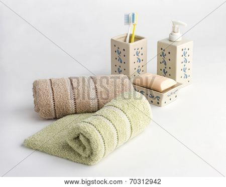 towels and bathroom accessories