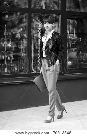 Young fashion business woman with a folders