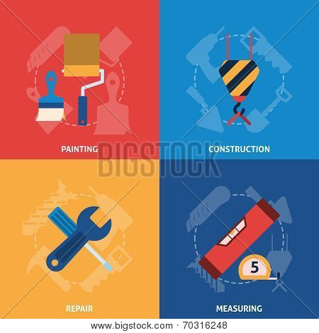 Home repair tools icons composition