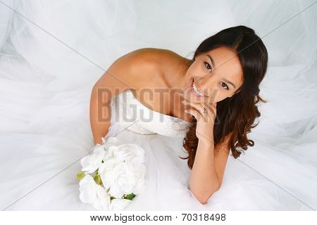 Woman in a beautiful white wedding dress