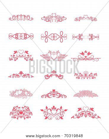 Pink Decorative Vector Curly Elements