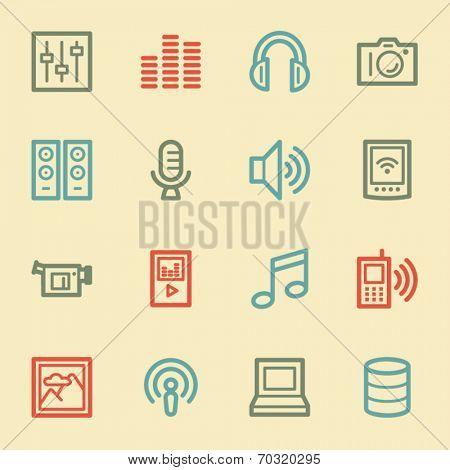 Media web icons, retro color