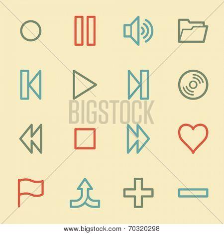 Media player web icons, retro color
