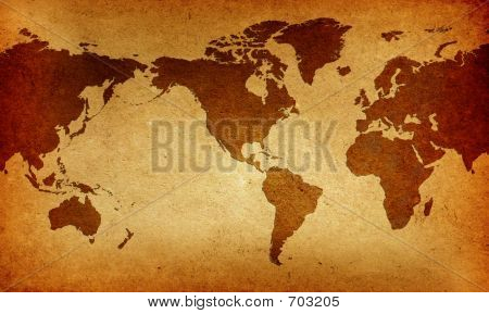 Old America Centered World Map