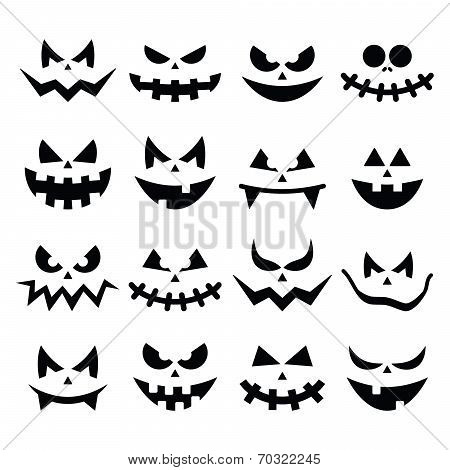 Scary Halloween pumpkin faces icons set