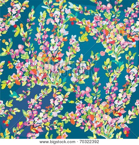 Floral seamless pattern with hand drawn blossom flowers