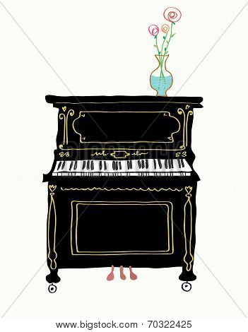 Piano card hand drawn illustration