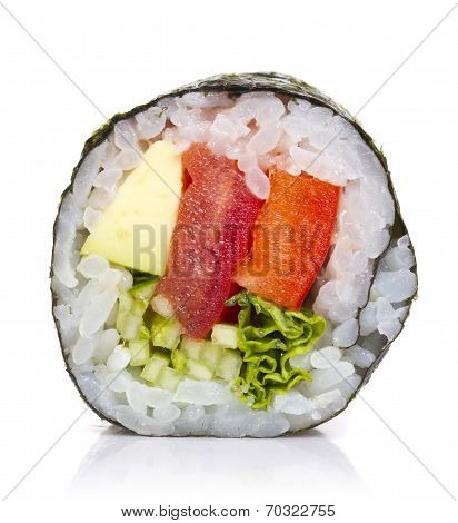 Vegetarian Sushi Roll Isolated On White Background