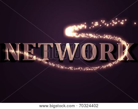 Network- 3D Inscription With Luminous Line With Spark