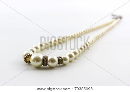 Elegant White Pearl Necklace.
