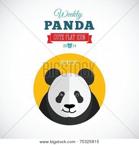 Weekly Panda Cute Flat Animal Icon - Winking