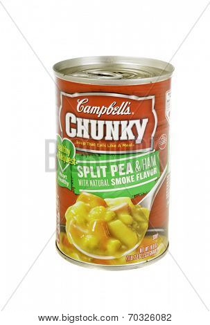 West Point - August 17, 2014: Can of Campbell's Chunky Split Pea & Ham with natural smoke flavored soup, low sodium heart healthy version