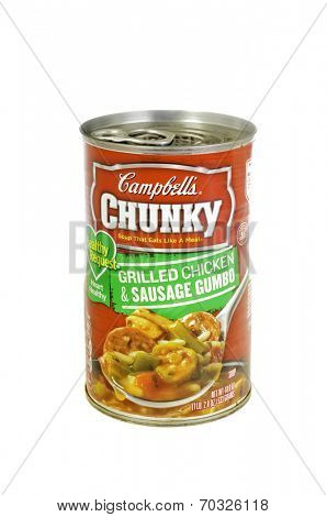 West Point - August 17, 2014: Can of Campbell's Chunky Grilled Chicken  and Sausage gumbo, low sodium heart healthy version