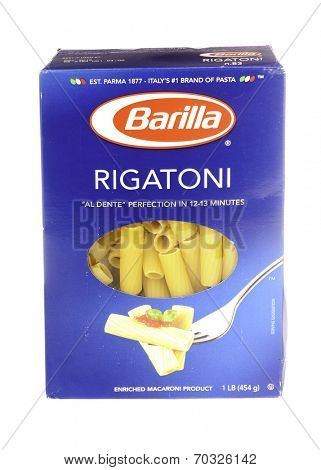West Point - August 17, 2014: 1lb box of Rigatoni made by Barilla, Italy's #1 pasta maker