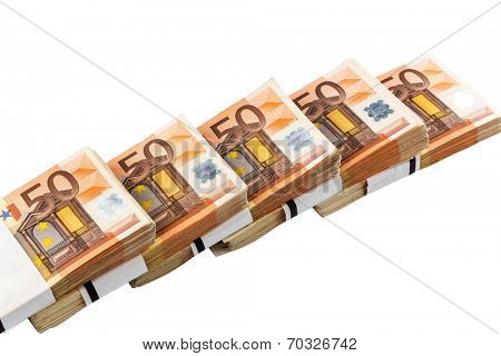 stack of many fifty euro banknotes. symbolic photo for money, wealth, income and expenditure