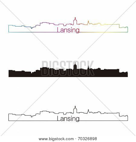 Lansing Skyline Linear Style With Rainbow