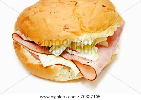 Organic Ham And Cheese Sandwich On An Onion Roll