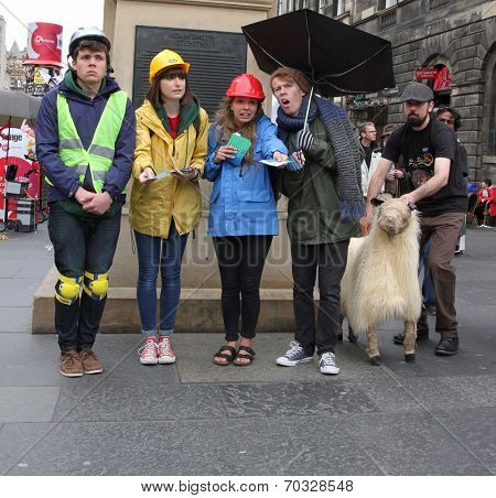 EDINBURGH- AUGUST 16: Members of EUTCo - Exeter University Theatre Company publicize their show A History of Falling Things during Edinburgh Fringe Festival on August 16, 2014 in Edinburgh Scotland