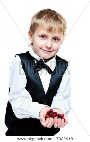 Boy With Hearts In Hands