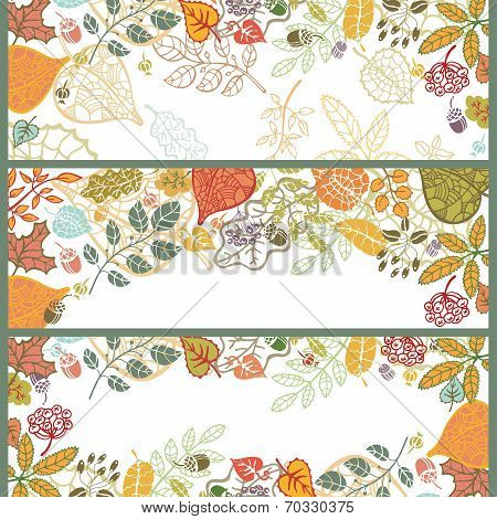 Autumn horizontal banner set.Leaf,branches,acorn,berries