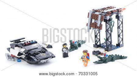 Ankara, Turkey - March 15, 2014 : Studio shot of Lego Movie 70802 Bad Cop's Pursuit isolated on white background.