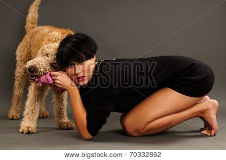 Young girl and his dog
