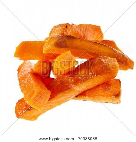 Heap Pile of Fried Sweet Potatoes close up isolated on white background