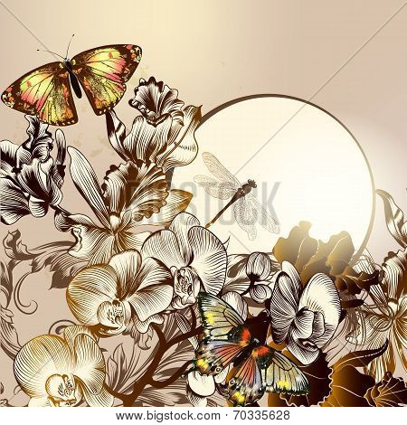Fashion Floral Background With Butterflies And Orchids