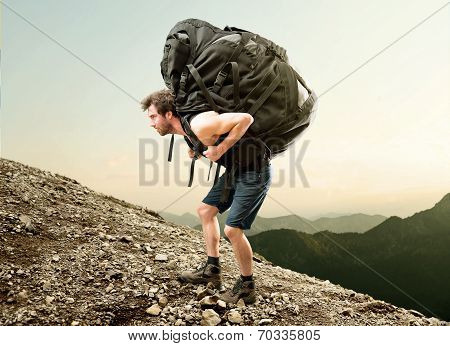 Hiker with heavy Backpack