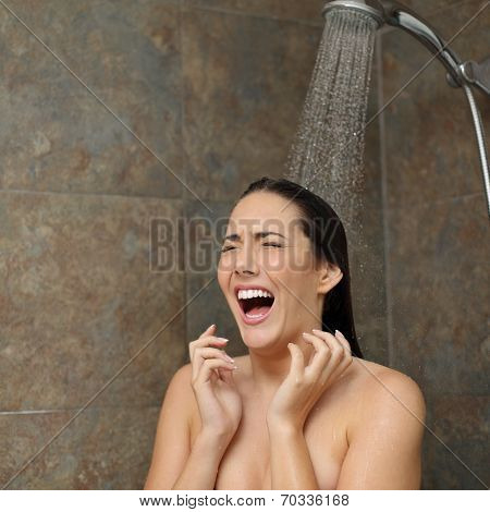 Disgusted Woman Screaming In The Shower Under Cold Water