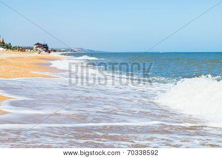 Beach Of Sea Of Azov In Resort Town Golubickaya