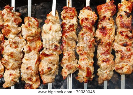 Skewers With Meat Shish Kebabs On Brazier