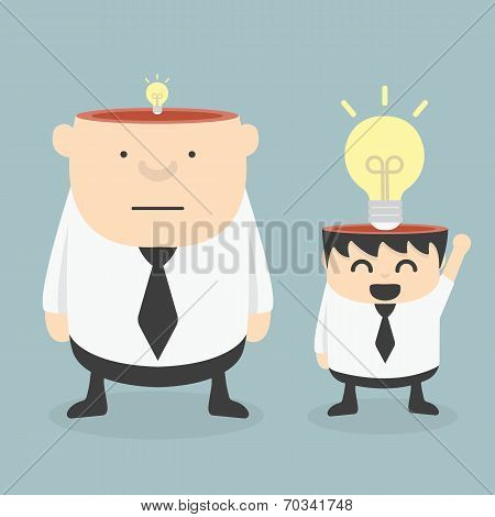 Obese Businessman Wit Small Ideas And Small Businessman Wit  Big Ideas