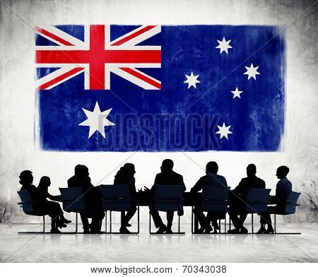 Silhouettes of Business People and a Flag of Austrailia