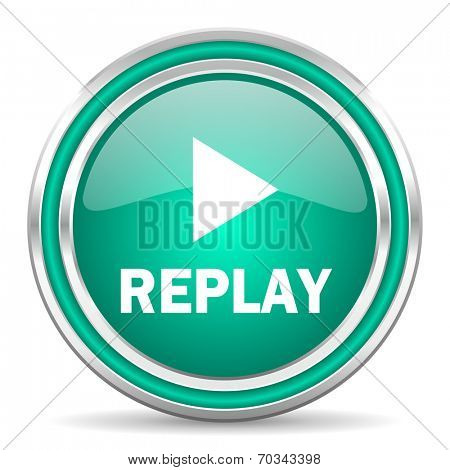 replay green glossy web icon