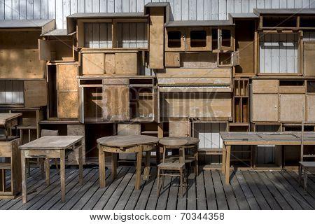 Empty Wood Shelfs And Old Vintage Furniture