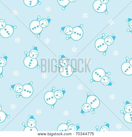 seamless background of the snowman and snowflake