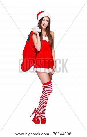 Santa Woman In Fur Hat