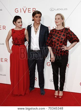 NEW YORK-AUG 11: (L-R) Actors Odeya Rush, Brenton Thwaites and Meryl Streep attend the premiere of