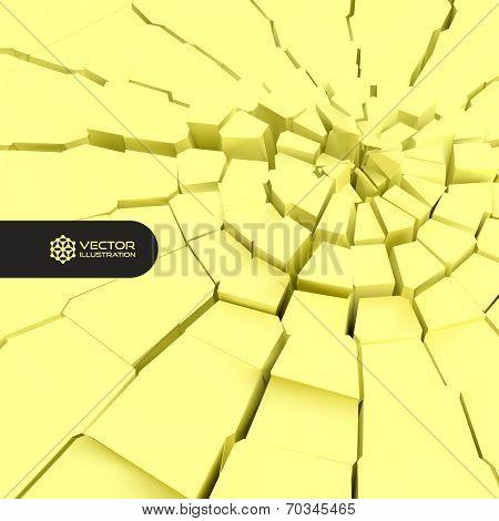 Cracked background. 3d vector illustration.