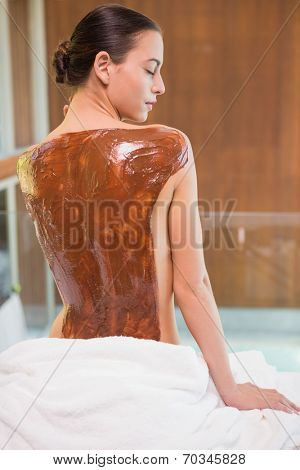 Rear view of an attractive young woman with chocolate back mask at spa center