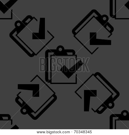 Notepad paper Documents web icon. flat design. Seamless pattern.