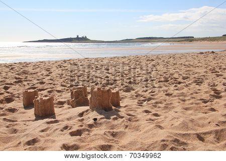 Sandcastles And Dunstanburgh Castle