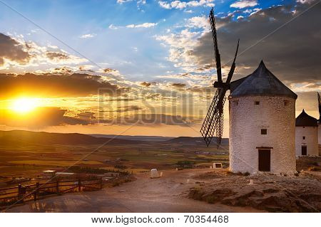 Windmill at sunset, Consuegra, Spain