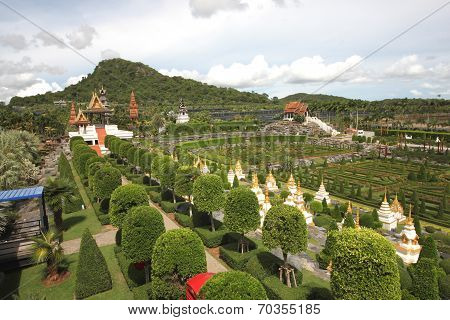 The French garden overview in the Nong Nooch tropical botanic garden near Pattaya city in Thailand