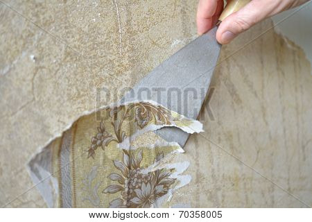 Removing the old wallpaper from the wall using trowel