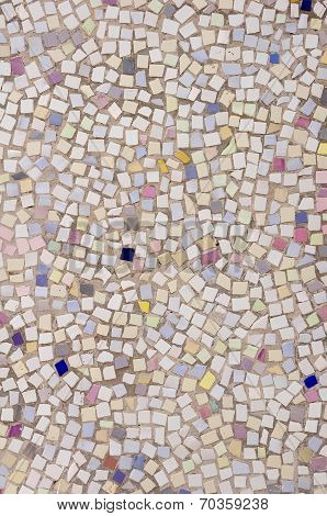 Mosaic Of Broken Tile Pieces On Wall