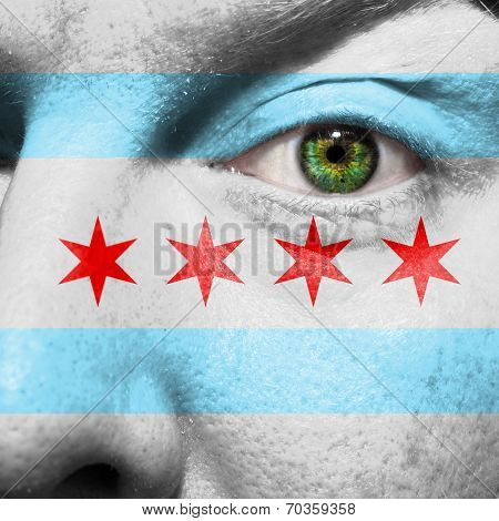 Chicago City Flag Painted On A Man's Face