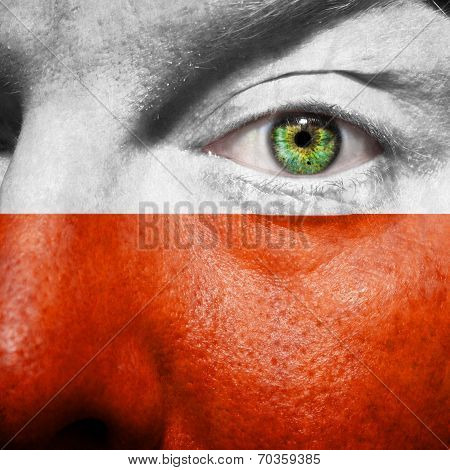 Polish Flag Painted On Mans Face