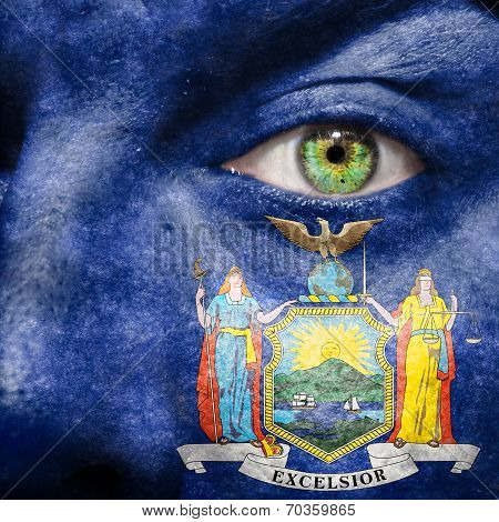 Flag Painted On Face With Green Eye To Show New York Support